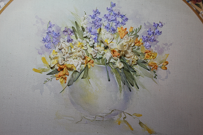 Spring Flowers on Painted Silk