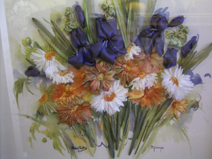 Iris and Daisies on hand painted background